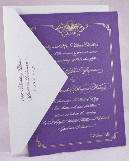 Engraved Wedding Invitation R Royal E – Gold and Purple Wedding Invitations
